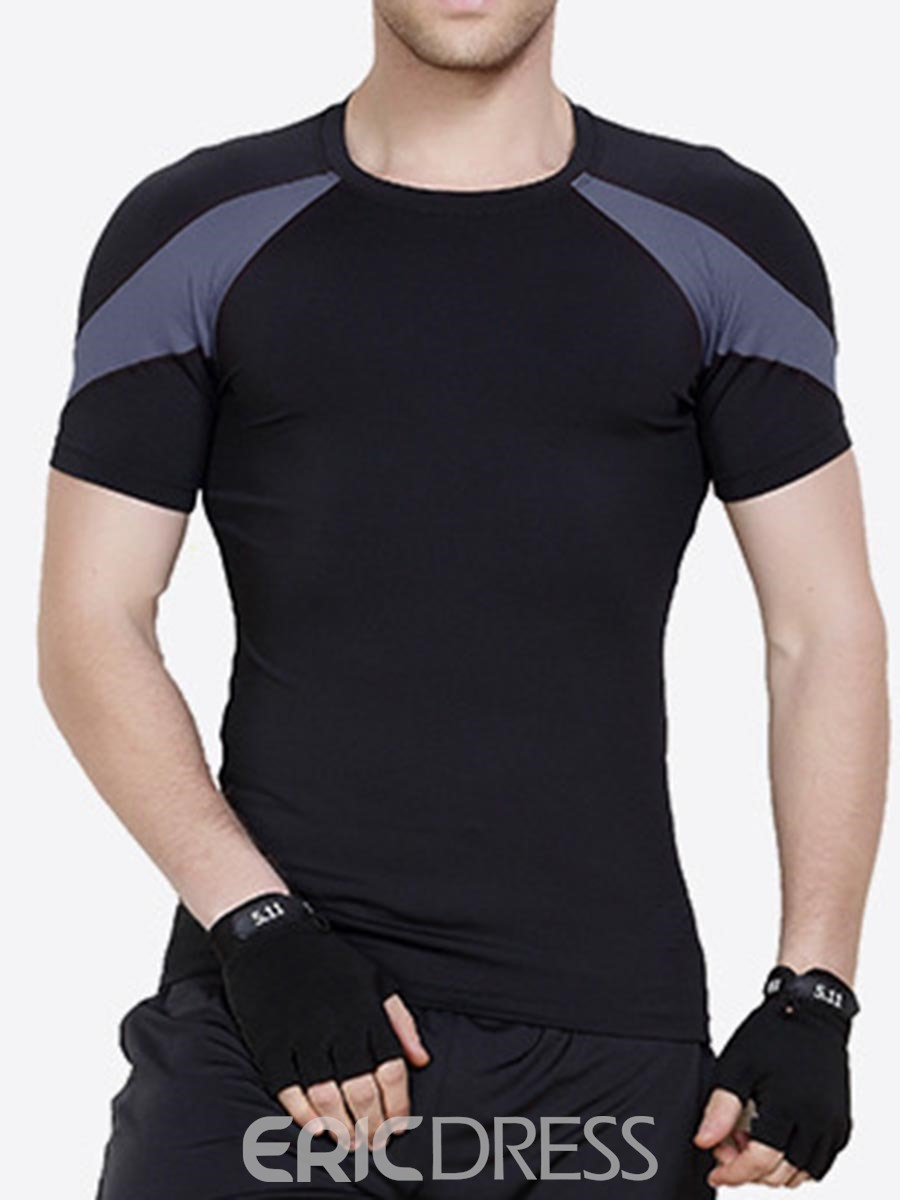 Ericdress Men Color Block Short Sleeve Quick Dry Gym Sports T-shirt