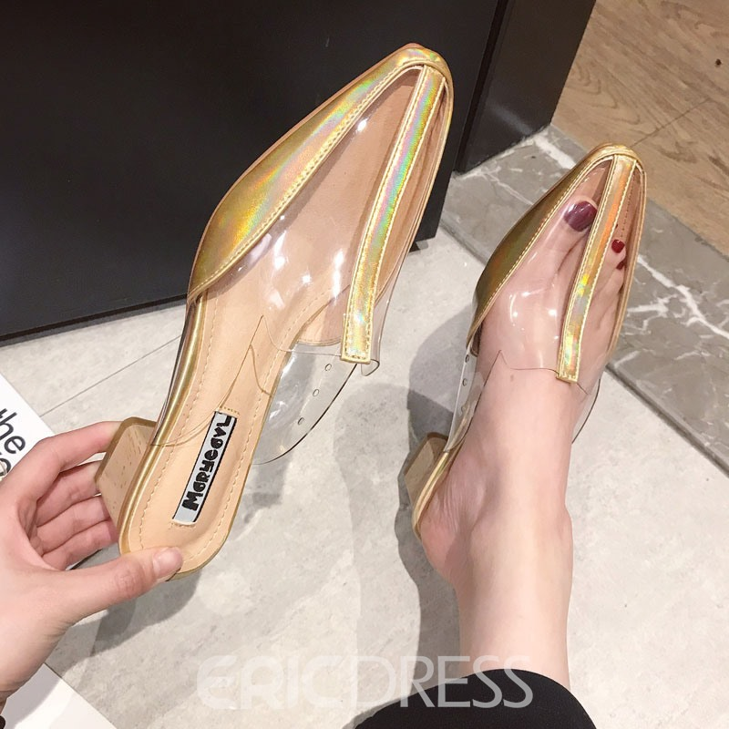 Ericdress Chunky Heel Closed Toe Women's Mules Shoes