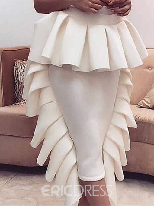 Ericdress Ruffles Plain Mid-Calf Bodycon Skirt