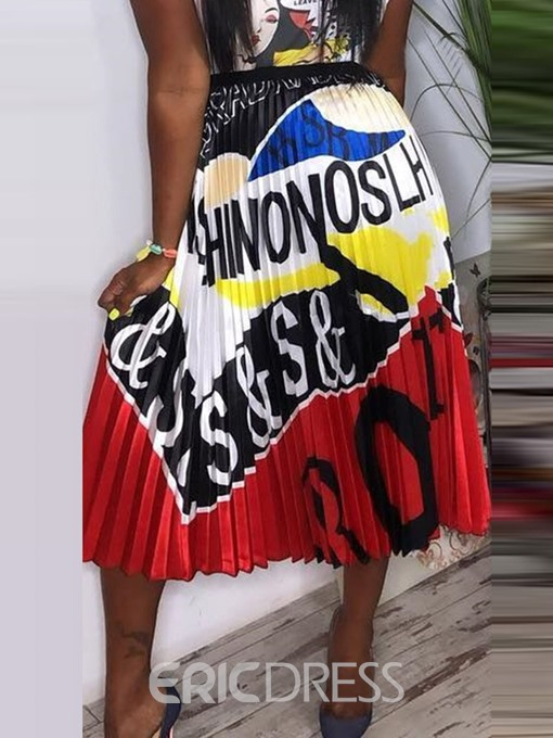 Ericdress Pleated Letter Color Block Mid-Calf Skirt
