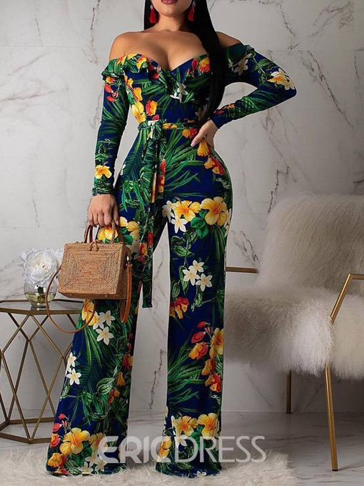 Ericdress African Fashion Off-Shoulder Lace-Up Print Floral Slim Jumpsuit