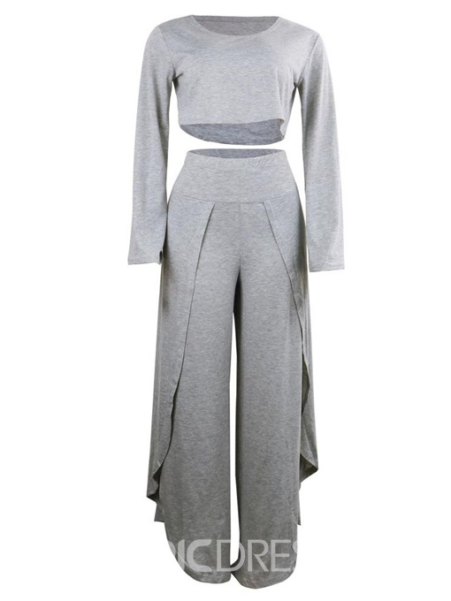 Ericdress Casual Plain T-Shirt Pullover Two Piece Sets