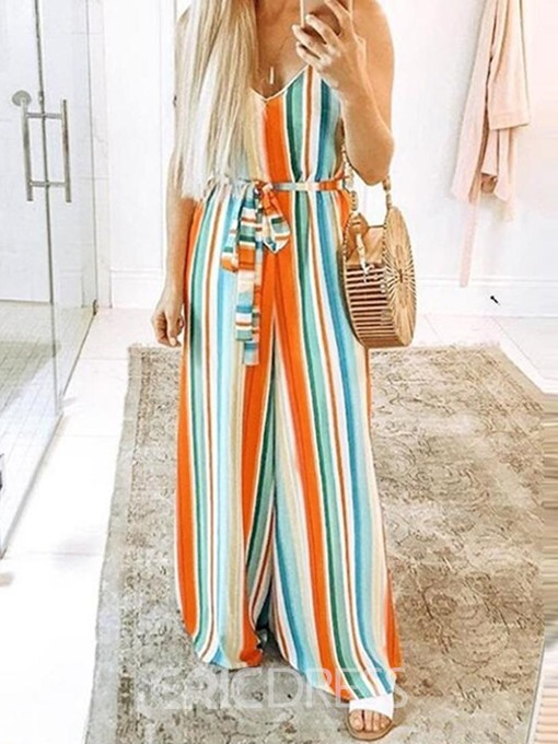 Ericdress Stripe Strap Belt Wide Legs Loose Jumpsuit