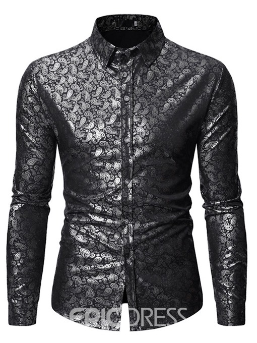 Ericdress Casual Print Lapel Spring Mens Single-Breasted Shirt