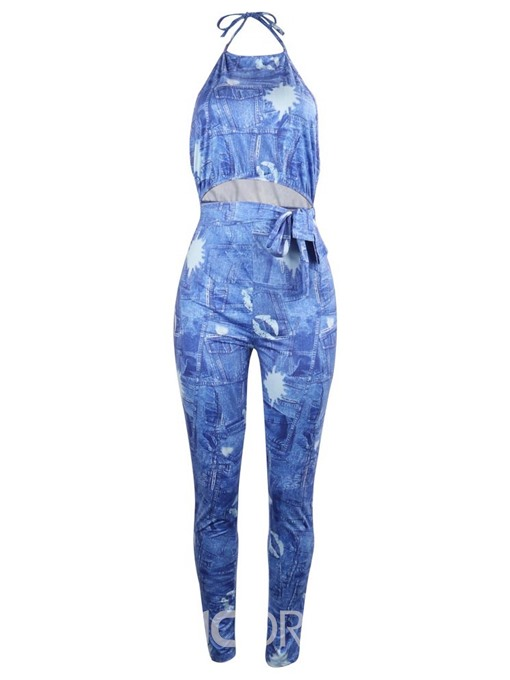 Ericdress Strap Lace-Up Print Skinny Jumpsuit