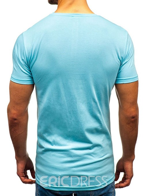 Ericdress Color Block Round Neck Casual Slim Mens T-shirt