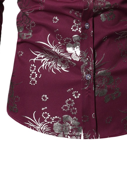 Ericdress Floral Print Lapel Single-Breasted Mens Shirt