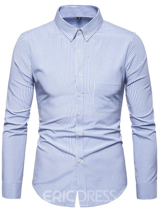 Ericdress Lapel Button Stripe Single-Breasted Mens Shirt