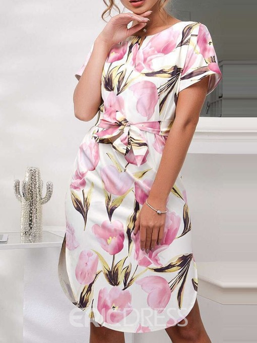Ericdress Knee-Length V-Neck Print Summer Mid Waist Dress