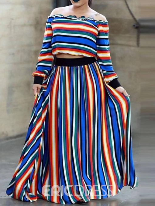 Ericdress Stripe Office Lady Skirt A-Line Pullover Two Piece Sets