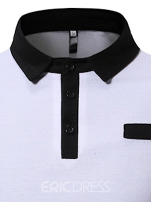 Ericdress Polo Neck Casual Color Block Mens Polo Shirt