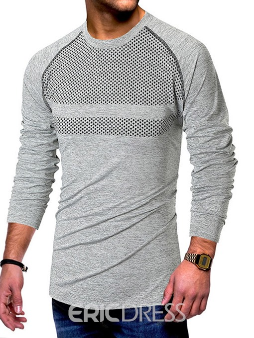 Ericdress Casual Color Block Round Neck Slim Mens T-shirt