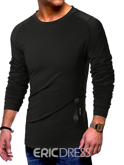 Ericdress Casual Round Neck Patchwork Mens Slim T-shirt