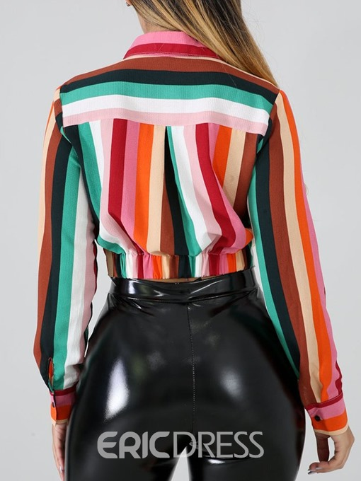 Ericdress Color Block Lapel Button Short Blouse
