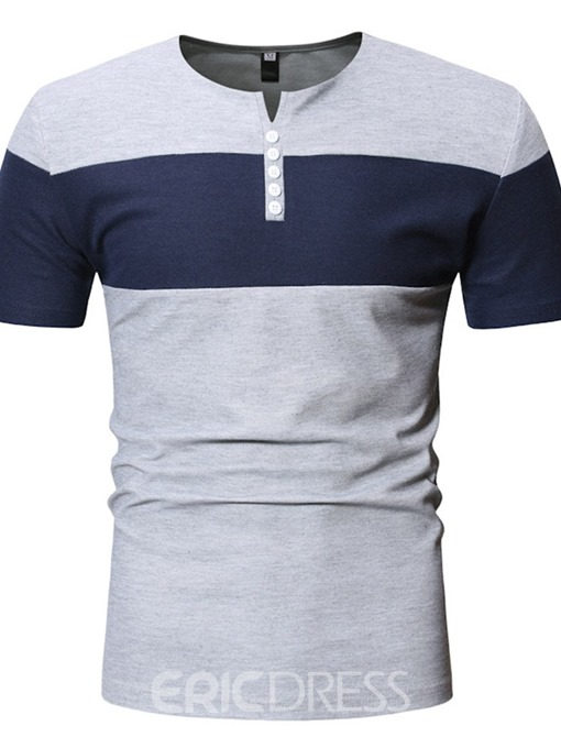 Ericdress Color Block Button Casual Slim Mens Short Sleeve T-shirt