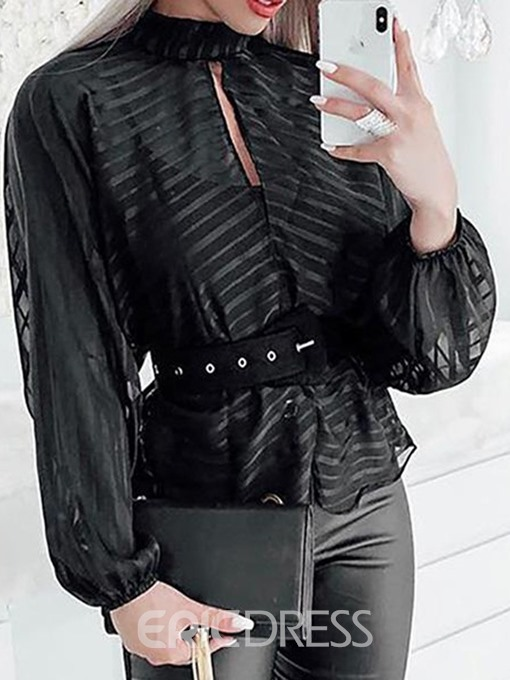 Ericdres Lantern Sleeve See-Through Standard Blouse