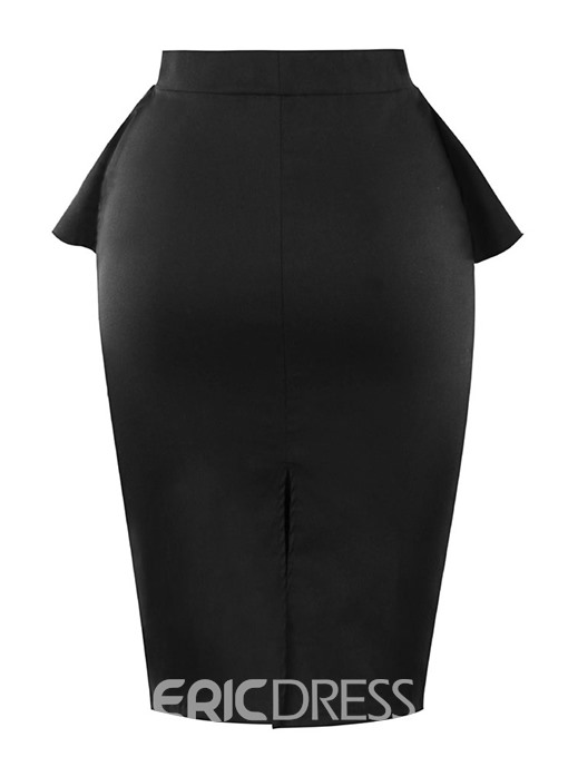 Ericdress Bowknot Falbala Mid-Calf Plain Bodycon Skirt
