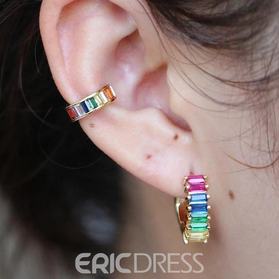 Ericdress Fashion Color Block Gems Earrings