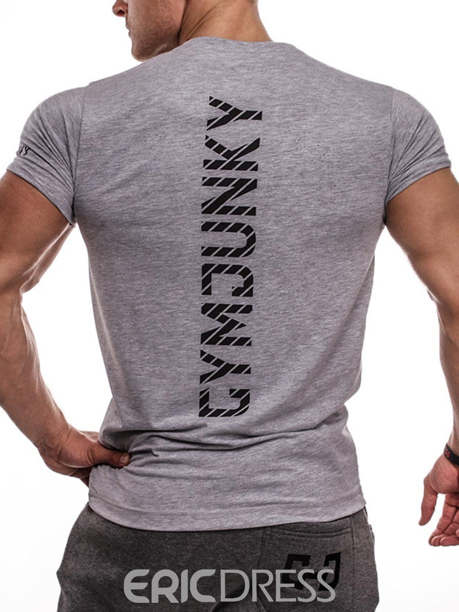 Ericdress Color Block Print Short Sleeve Pullover Gym Sports T-shirt