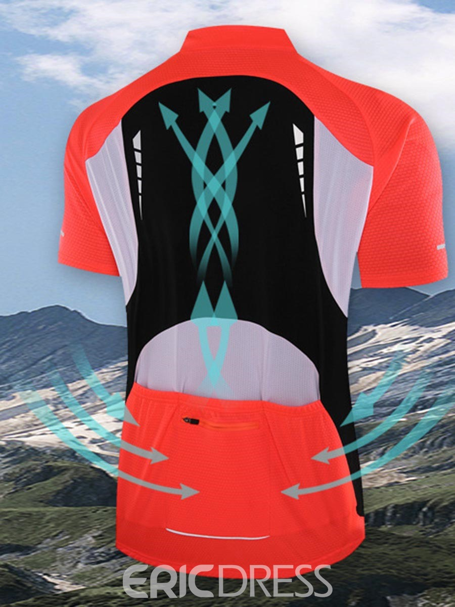 Ericdress Men Breathable Print Color Block Sports Riding Tops