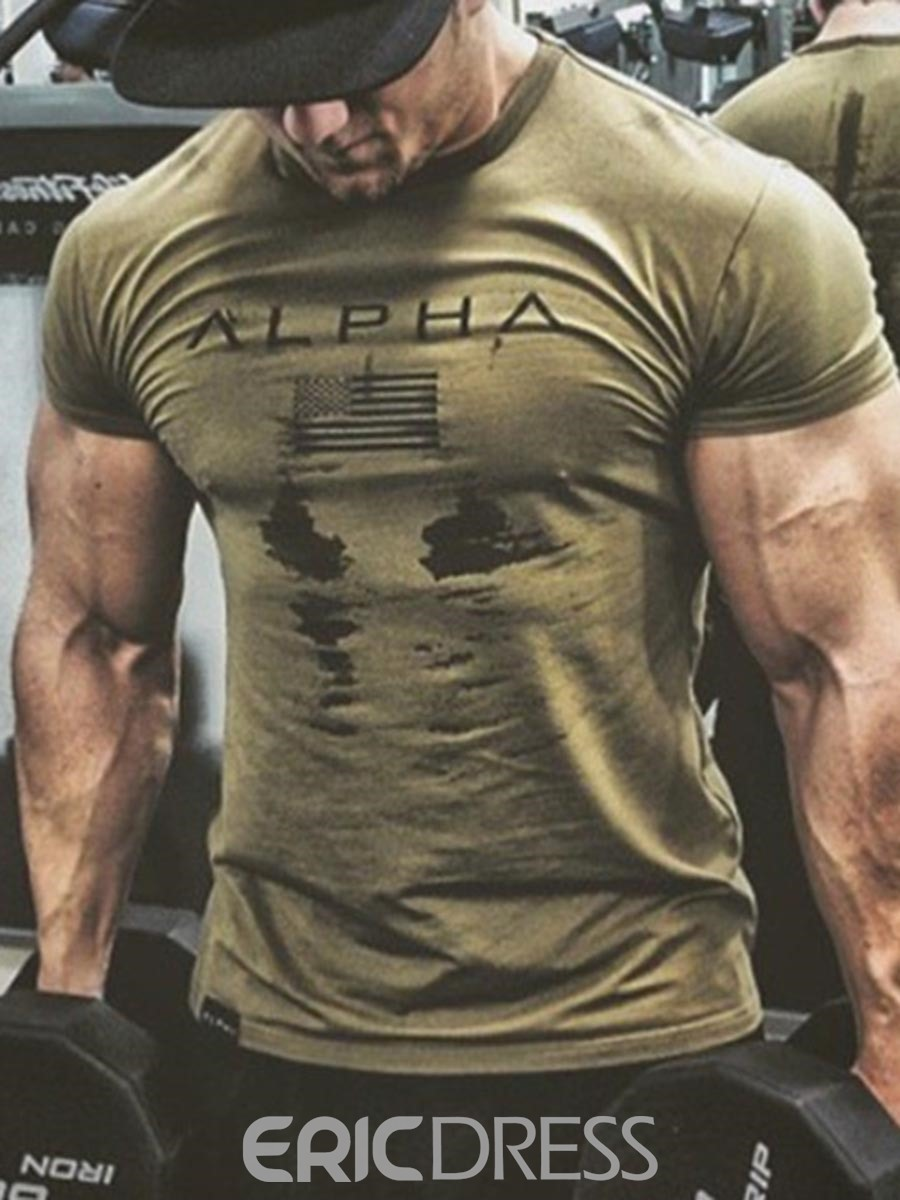 Ericdress Men Camouflage Print Pullover Gym Sports T-shirt