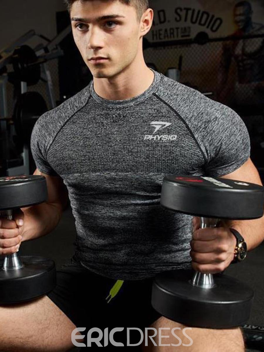 Ericdress Men Quick Dry Print Short Sleeve Gym Sports T-shirt