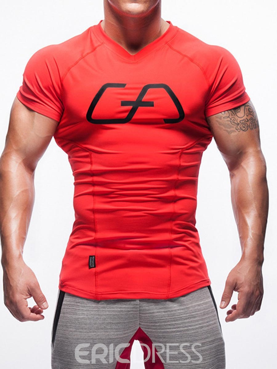 Ericdress Men Quick Dry Print Color Block Short Sleeve Gym Sports T-shirt