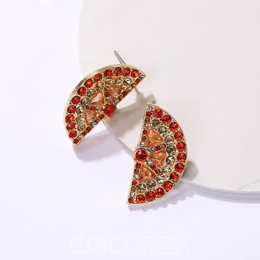 Ericdress Diamante Orange Gems Earrings