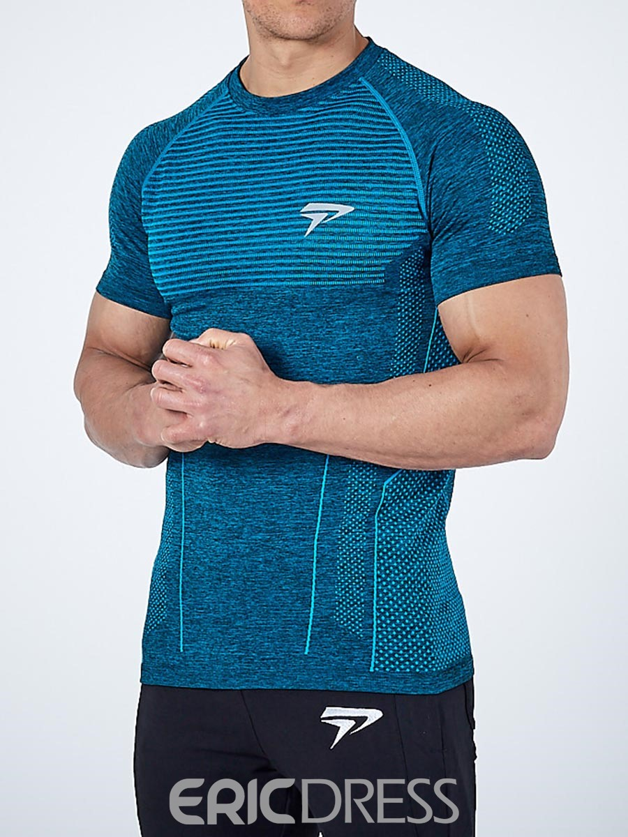 Ericdress Men Breathable Quick Dry Short Sleeve Pullover Sports Tops