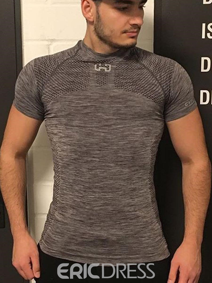 Ericdress Men Solid Anti-Sweat Print Short Sleeve Gym Sports T-shirt