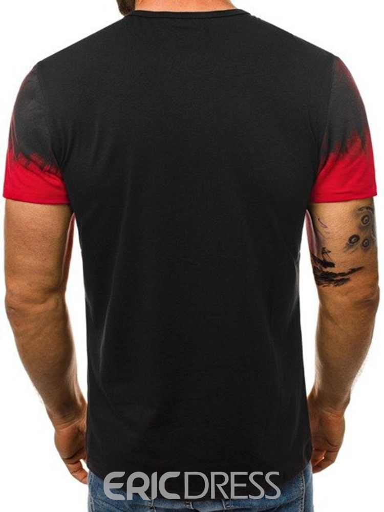 Ericdress Casual Round Neck Print Short Sleeve Mens Loose T-shirt