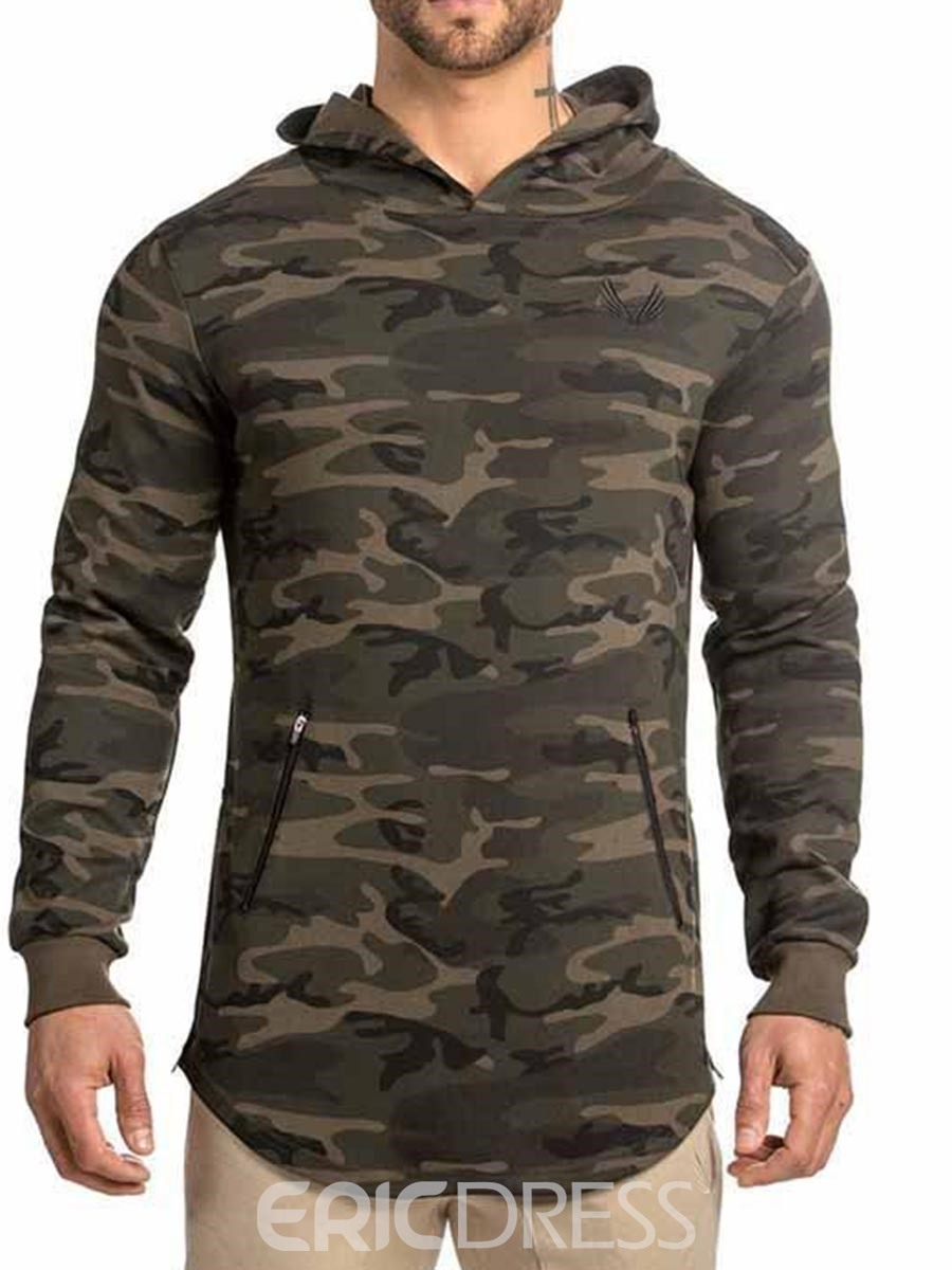 Ericdress Men Camouflage Print Hooded Pullover Sports Tops