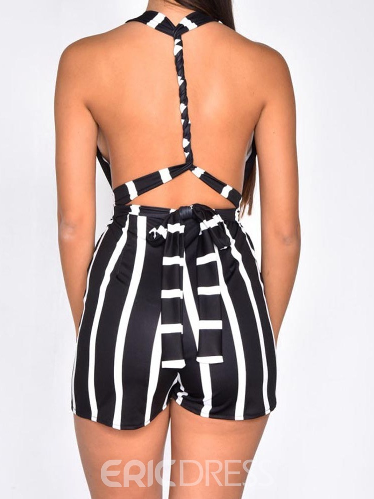 Ericdress Stripe Sexy Office Lady Skinny Romper
