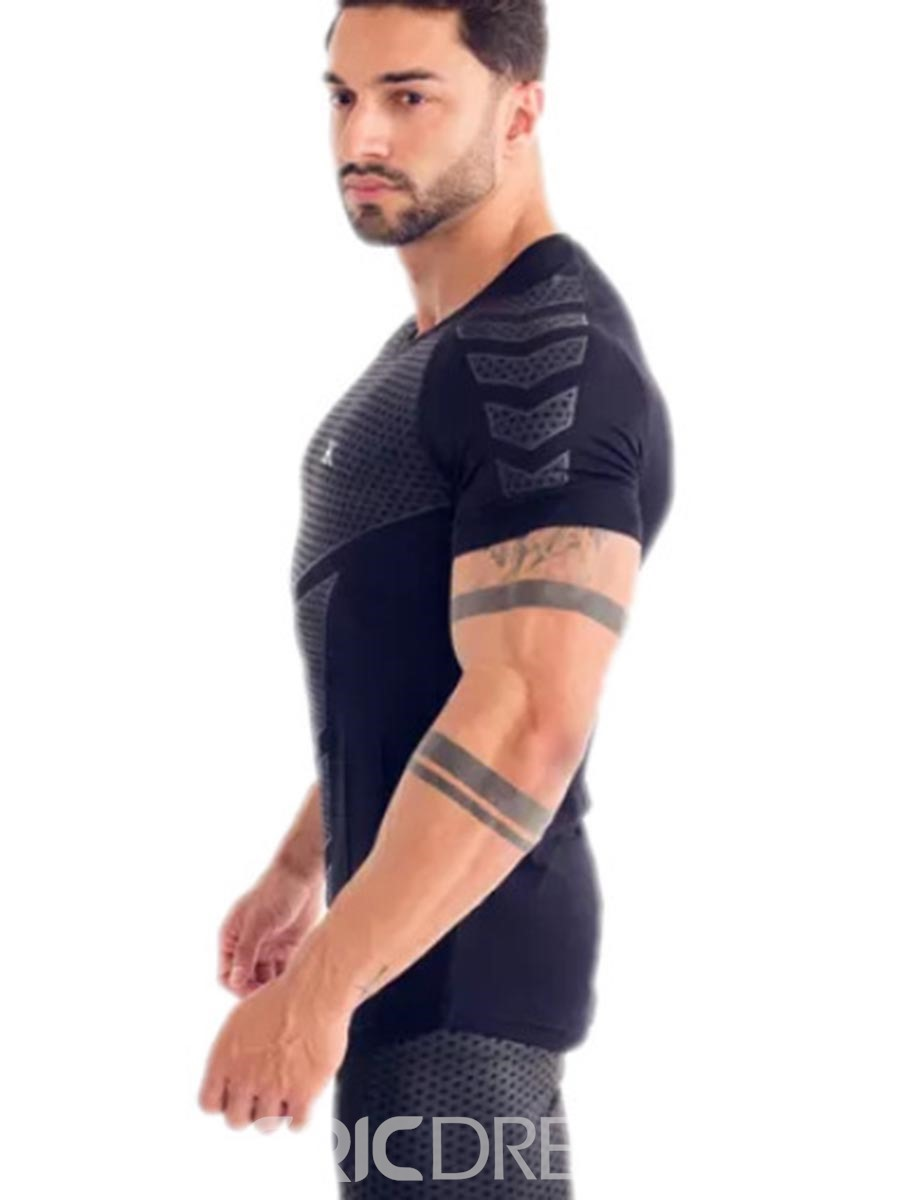 Ericdress Men Breathable Quick Dry Pullover Gym Sports T-shirt
