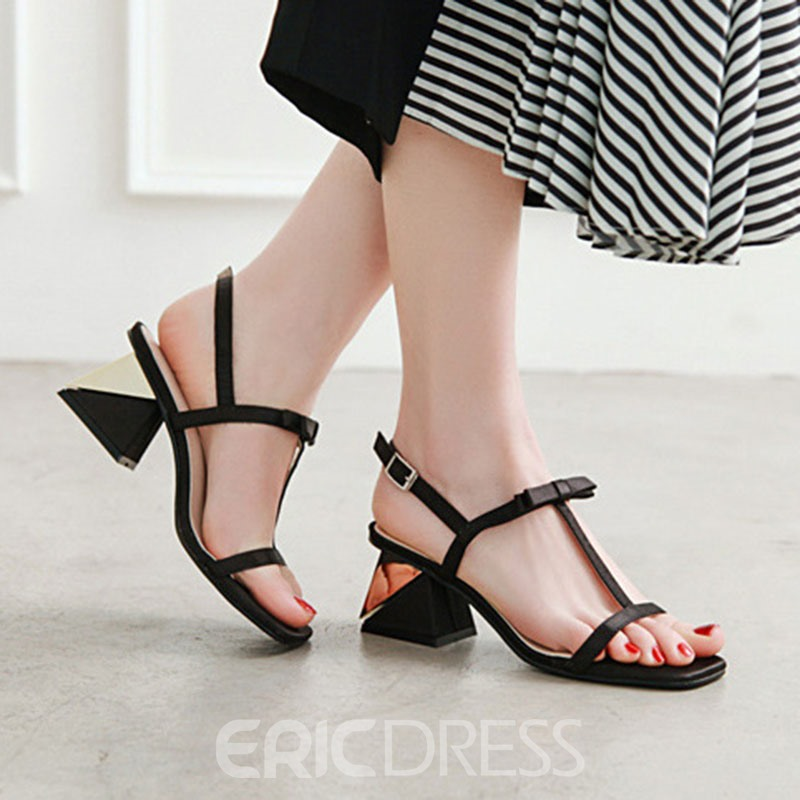 Ericdress Sweet Bowknot Chunky Heel Strappy Women's Sandals