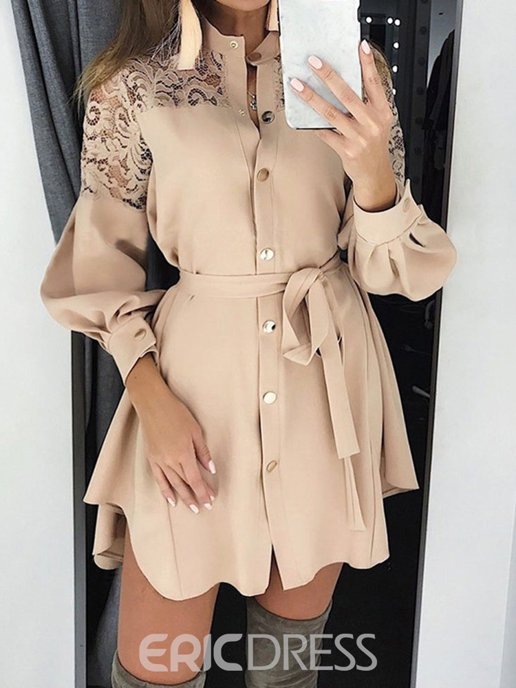 Ericdress Above Knee Long Sleeve Hollow Casual Single-Breasted Dress