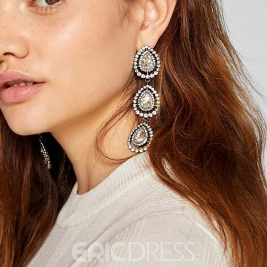 Ericdress Alloy Diamante Long Drop Earrings