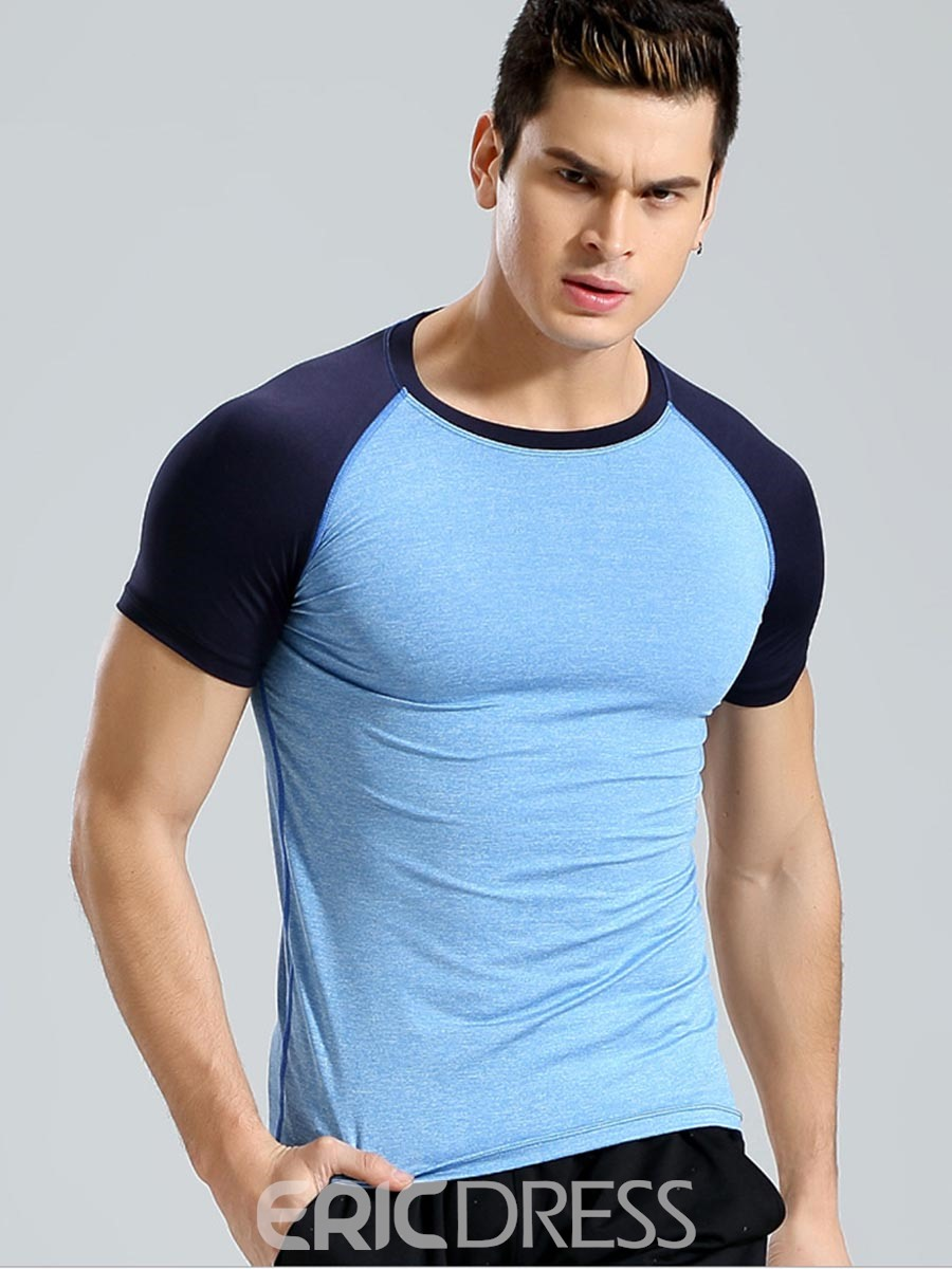 Ericdress Men Breathable Color Block Short Sleeve Gym Sports T-shirt