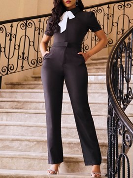 Ericdress Office Lady Plain High Waist Full Length Slim Jumpsuit