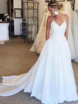 Ericdress Spaghetti Straps A-Line Beach Wedding Dress