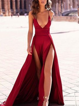 Ericdress V-Neck Floor-Length Split A-Line Evening Dress