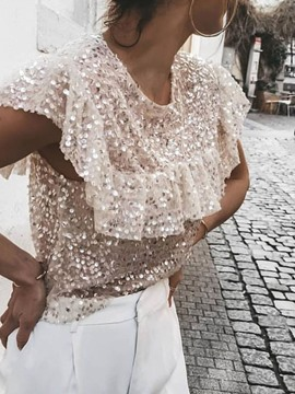 Ericdress Round Neck Patchwork Sequins Short Blouse