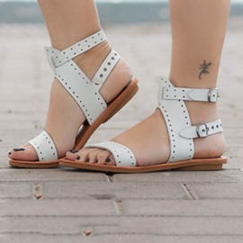 Ericdress Ankle Strap Open Toe Buckle Plain Women's Flat Sandals