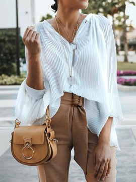 Ericdress Plain V-Neck Pleated Mid-Length Casual Blouse