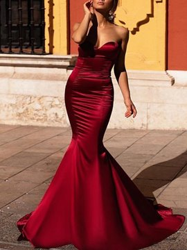 Ericdress Elegant Sweetheart Satin Mermaid Evening Dress 2019