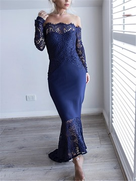 Ericdress Mermaid Off-The-Shoulder Asymmetry Lace Evening Dress 2019