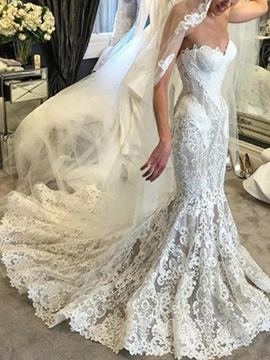 Ericdress Sweetheart Appliques Lace Mermaid Wedding Dress 2019