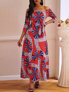 Ericdress Print Three-Quarter Sleeve Ankle-Length Pullover Color Block Dress