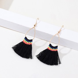 Ericdress Black Tassel Hoop Earrings