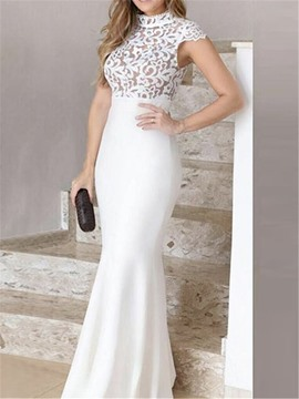 Ericdress Mermaid Cap Sleeves Floor-Length High Neck Evening Dress
